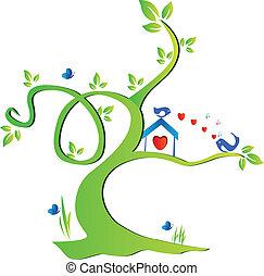 albero, amare uccelli