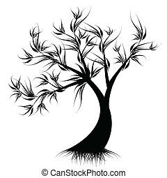 albero, arte, silhouette