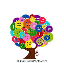 albero, astratto, bottoni, illustrazione, fondo, isolato, vettore, bianco