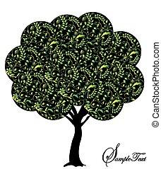 albero, astratto, silhouette