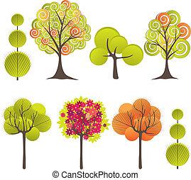 albero., astratto, vettore, illustrazione