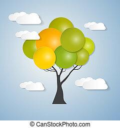 albero, astratto, vettore, nubi, cielo