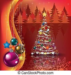 albero, augurio, decorazioni, natale