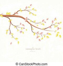 albero, autunno, disegno, ramo, invito, tuo, scheda