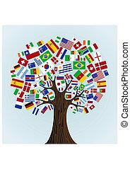 albero, bandiere, mondo
