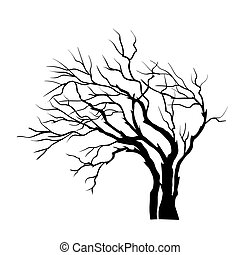 albero, bianco, vettore, silhouette, isolato