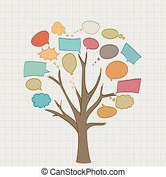 albero, bolle, discorso, retro