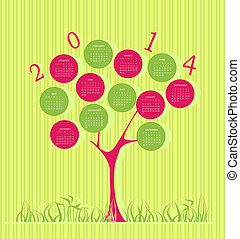 albero, calendario, per, 2014, anno