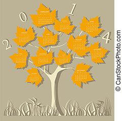 albero, calendario, per, 2014, anno, su, leav