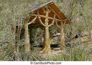 albero, capanna