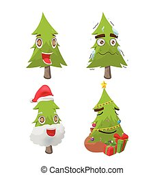 albero, carattere, natale, vettore, divertimento, cartone animato