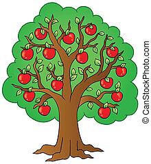 albero, cartone animato, mela