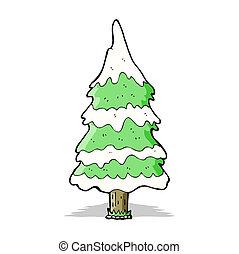 albero, cartone animato, nevoso