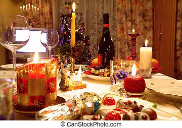 albero, cenando, fondo, tavola, decorato, natale, occhiali