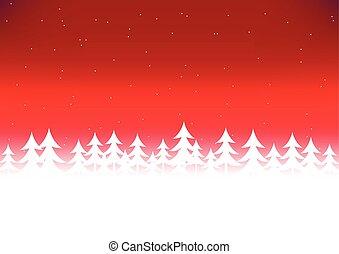 albero, cielo, natale, rosso, neve