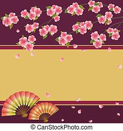 albero ciliegia, giapponese, ventilatori, sakura, fondo