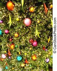 albero, closeup, ornamenti natale