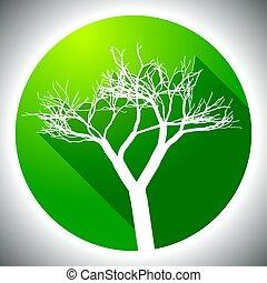 albero, colorito, icona
