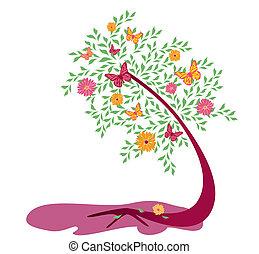 albero, con, fiori, 2