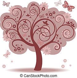 albero, con, foglie rosse