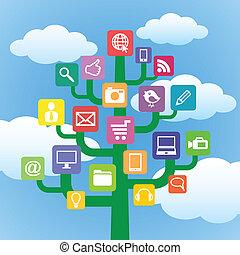 albero, con, icone, aggeggi, e, computer, symbols.