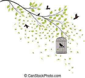 albero, con, volare, uccelli