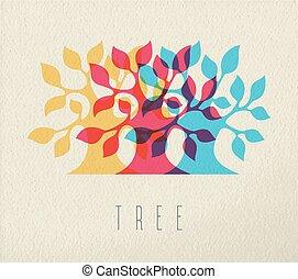 albero, concetto, silhouette, colorito, fondo
