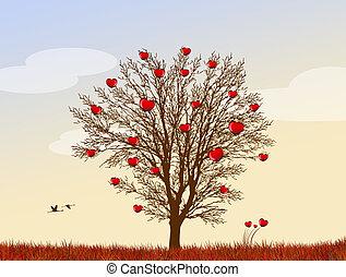 albero, cuori amore