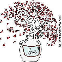 albero, dentro, amore, vaso