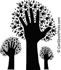 albero, di, mani