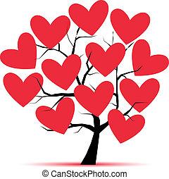 albero, disegno, amore, tuo, cuori