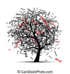 albero, disegno, concetto, shopping, tuo