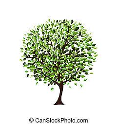albero, disegno, isolato, tuo