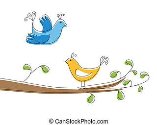 albero, due, ramo, uccelli