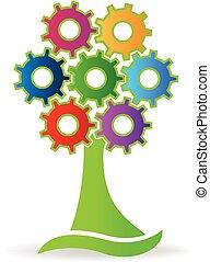 albero, fatto, con, ingranaggi, logotipo