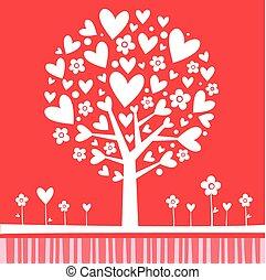 albero, fatto, hearts.