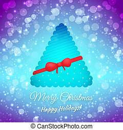 albero., festivo, augurio, bow., sfocato, fondo., vettore, nastro, buon natale, scheda