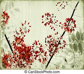 albero, fiore, su, anticaglia, bambù, fondo