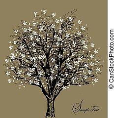 albero, fiori bianchi, silhouette