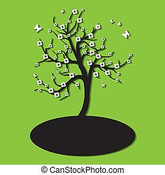 albero, fiori, silhouette