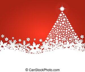 albero, fondo, natale, rosso, baluginante