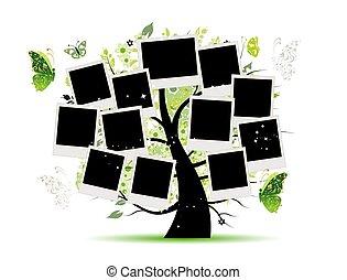 albero, foto, tuo, disegno, famiglia, cornici