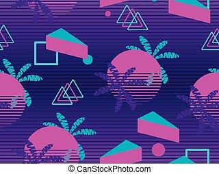 albero., futuristico, stile, elementi, modello, seamless, illustrazione, fondo., vettore, palma, retrowave., geometrico, synthwave, memphis, 80s.