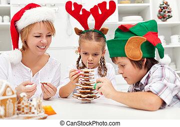 albero genealogico, biscotto, pan zenzero, fabbricazione, natale, felice