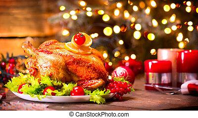 albero genealogico, cena., arrostito, tavola, decorato, ...