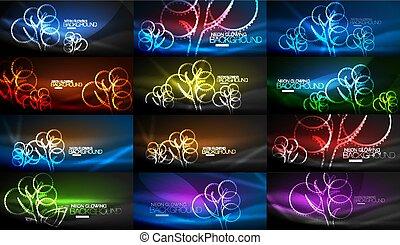 albero, geometrico, set, sfondi, neon