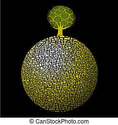 albero, globo, verde