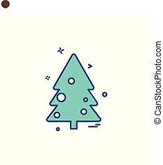 albero, icona, disegno, vettore