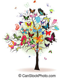 albero, illustrazione, farfalla, vettore, elemento, disegno