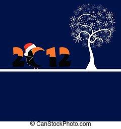 albero, illustrazione, vettore, fiocco, bianco, 2012
